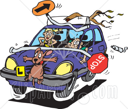 42929-clipart-illustration-of-a-crazy-teen-girl-running-over-a-dog-and-items-during-a-driving-lesson